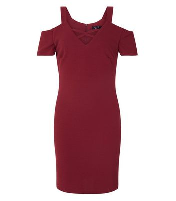 Teens Burgundy Cross Front Cold Shoulder Bodycon Dress New Look