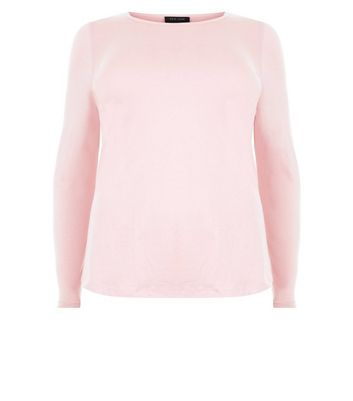 Curves Pink Crew Neck Long Sleeve Top New Look