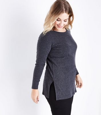 Curves Grey Ribbed Side Split Tunic Top