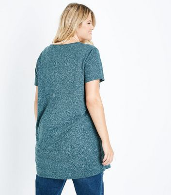 Curves Dark Green Marl Oversized T-Shirt New Look