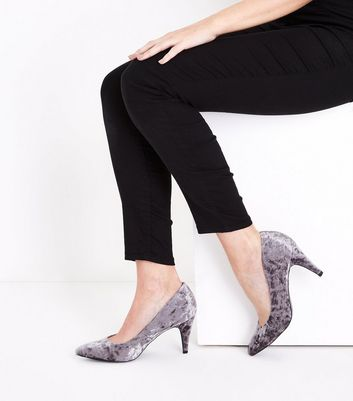 Grey Crushed Velvet Pointed Court Shoes New Look