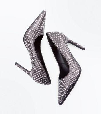 Pewter Metallic Diamante Embellished Courts New Look
