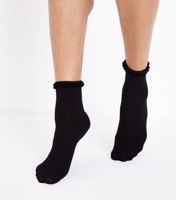 Black Velvet Trim Ankle Socks New Look
