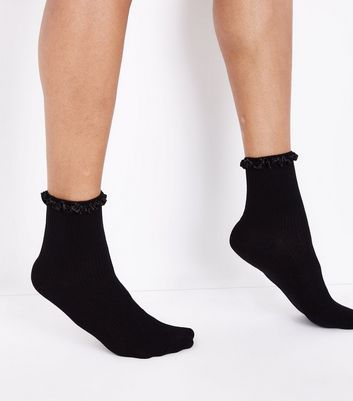 Black Satin Frill Trim Socks New Look