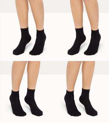 4 Pack Black Ankle Socks New Look