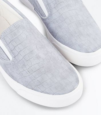Grey Faux Croc Slip On Trainers New Look