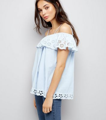 Cameo Rose Pale Blue Cut Out Embroidered Top New Look