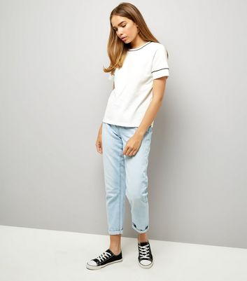 White Piped Edge T-Shirt New Look