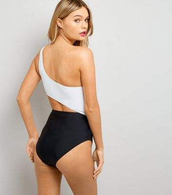 Monochrome One Shoulder Cut Out Swimsuit New Look
