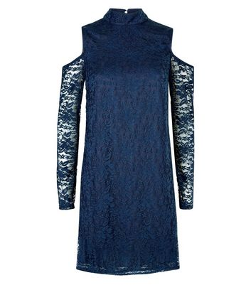 Mela Navy Floral Lace Cold Shoulder Dress New Look
