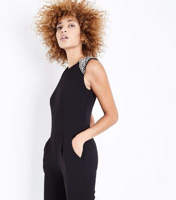 Mela Black Beaded Shoulder Jumpsuit New Look
