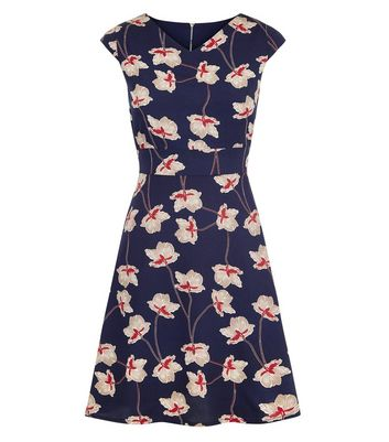 Mela Navy Floral Cap Sleeve Tie Back Dress New Look