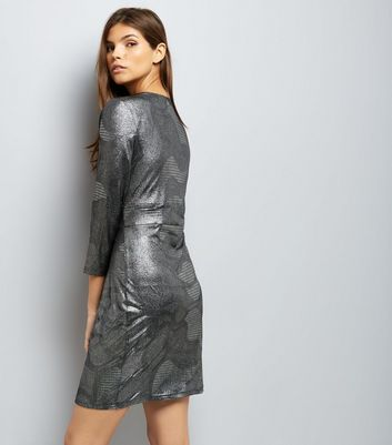 Mela Silver Metallic Print Dress New Look