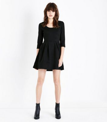 Mela Black Denim Skater Dress New Look