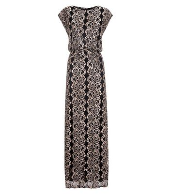 Mela Black Floral Metallic Lace Maxi Dress New Look