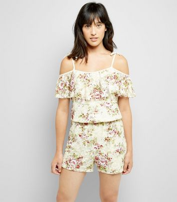 Cameo Rose Cream Floral Lace Playsuit New Look