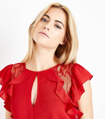 Red Lace Trim Ruffle Dress New Look