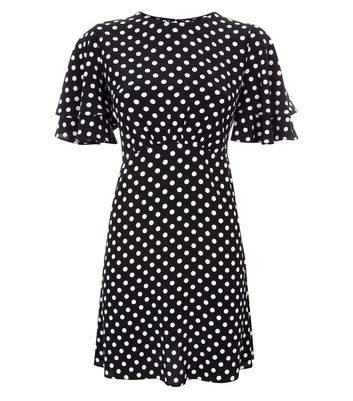 Black Polka Dot Tiered Sleeve Tea Dress New Look