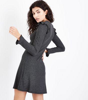 Grey Stripe Ribbed Frill Trim Jersey Dress New Look