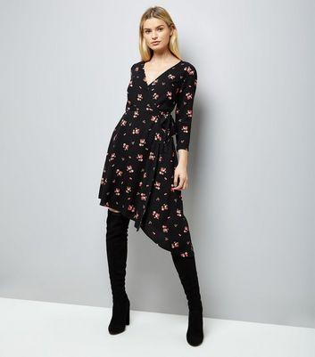 Black Floral Print Asymmetric Wrap Front Midi Dress New Look