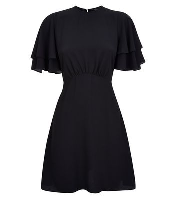 Black Tiered Sleeve Tea Dress New Look