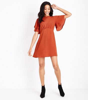 Light Brown Tiered Sleeve Tea Dress New Look