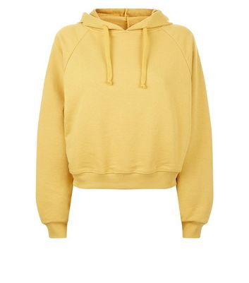 Mustard Raglan Sleeve Hoodie New Look