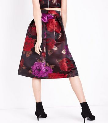 Red Rose Jacquard Midi Skirt New Look