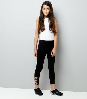 Teens Black NYC Slogan Tape Hem Leggings New Look