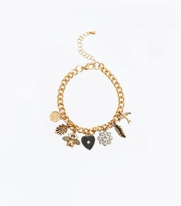 Gold Multi Charm Bracelet New Look