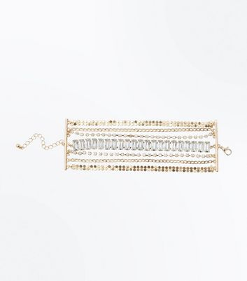 Gold Crystal Wide Chain Bracelet New Look