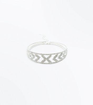 Silver Diamante Chevron Arm Cuff New Look