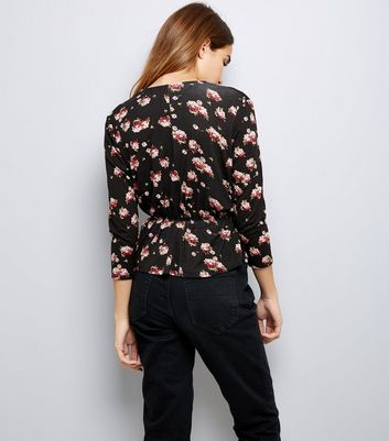 Black Floral Print Wrap Front Top New Look