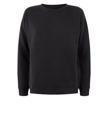 Black Ribbed Sweatshirt New Look