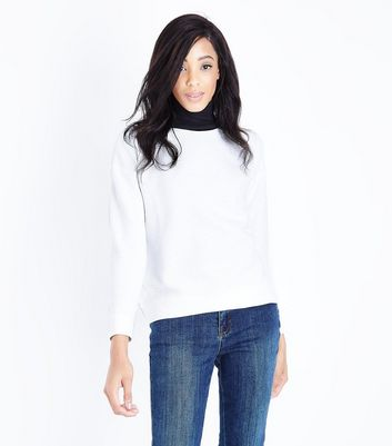 Cream Marl Ribbed Sweatshirt New Look