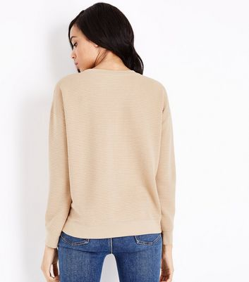 Camel Ribbed Sweatshirt New Look