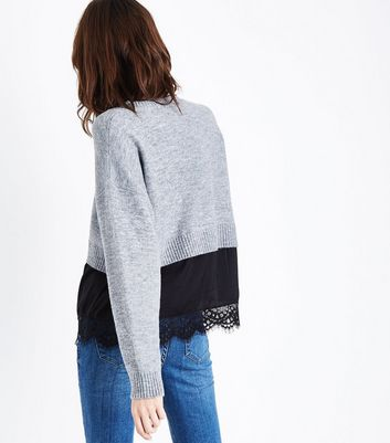 Grey 2 in 1 Lace Hem Jumper New Look