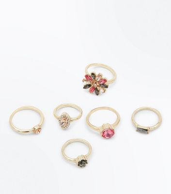 6 Pack Embellished Gem Rings New Look
