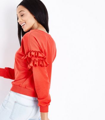 Red Frill Sleeve Sweatshirt New Look