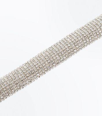 Silver Crystal Diamante Embellished Bracelet New Look