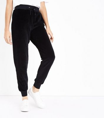 Black Velour Joggers New Look