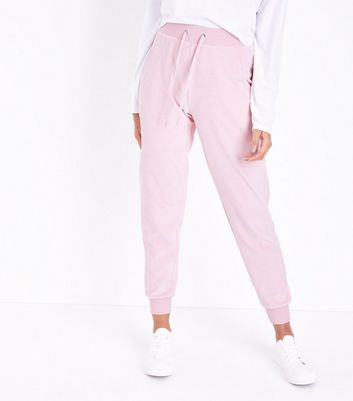 Pink Paris Embellished Velour Joggers New Look