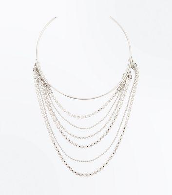 Silver Diamante Embellished Drape Arm Cuff New Look