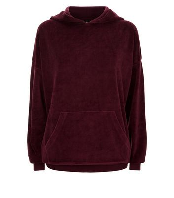Burgundy Velour Longline Hoodie New Look
