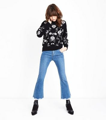 Black Metallic Floral Embroidered Jumper New Look