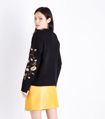 Black Floral Embroidered Jumper New Look