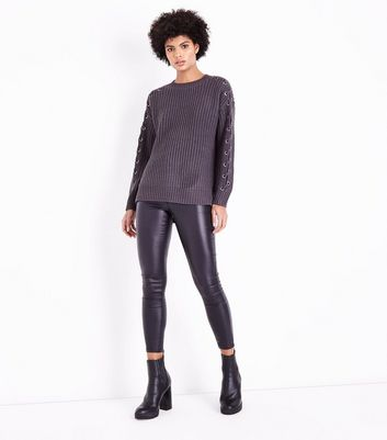 Dark Grey Eyelet Lace Up Sleeve Jumper New Look