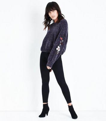 Dark Grey Embroidered Chenille Jumper New Look