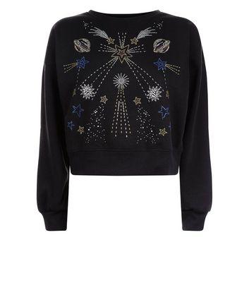 Black Cosmic Embellished Sweatshirt New Look