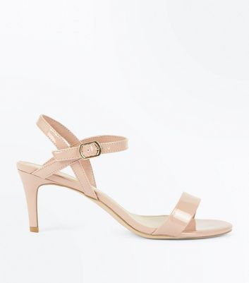 Nude Patent Mid Stiletto Heel Sandals New Look